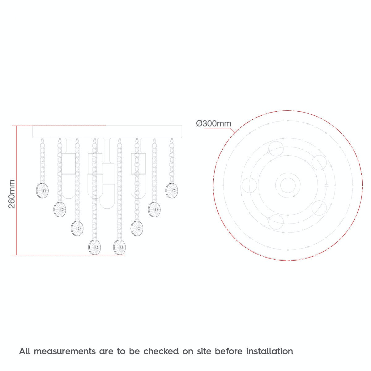 Dimensions for Forum Lenah 330mm flush bathroom ceiling light