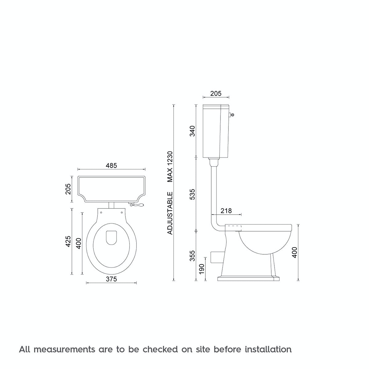 Dimensions for The Bath Co. Camberley low level toilet with grey soft close seat