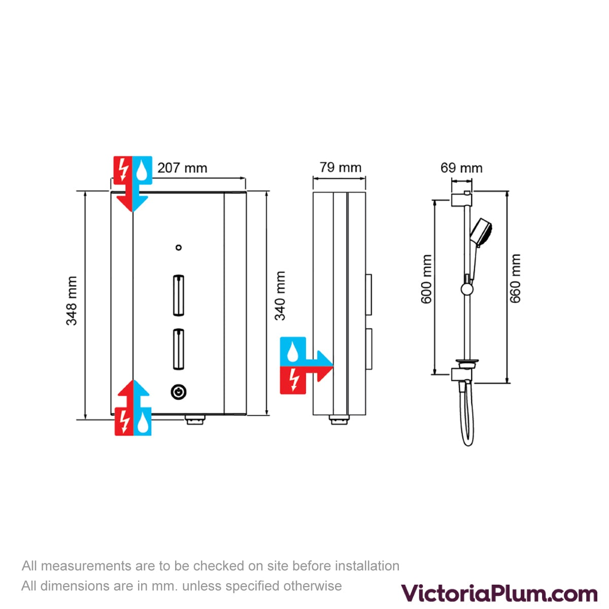 Dimensions for Mira Escape 9.0kw electric shower chrome
