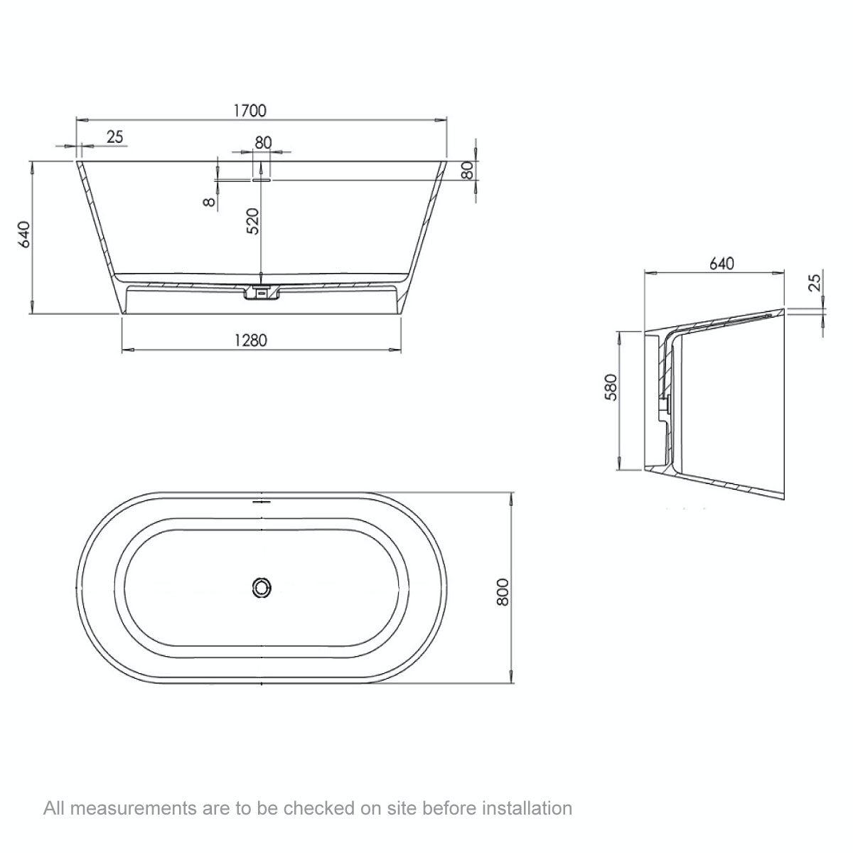 Dimensions for Belle de Louvain Goda solid surface stone resin freestanding bath