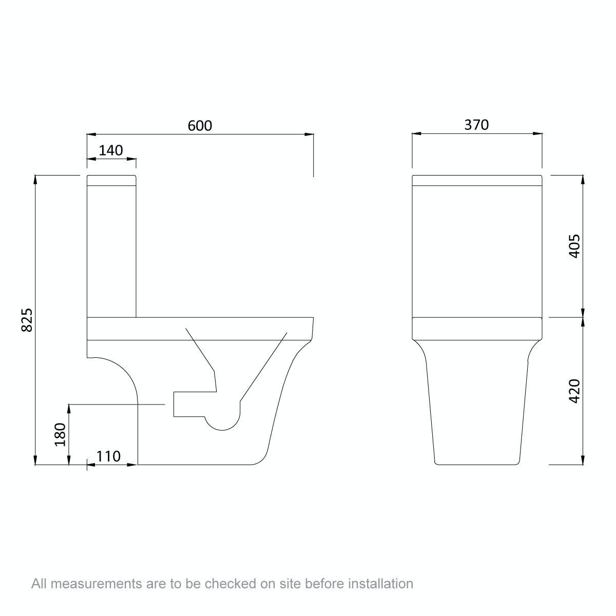 Dimensions for Mode Carter close coupled toilet with soft close seat