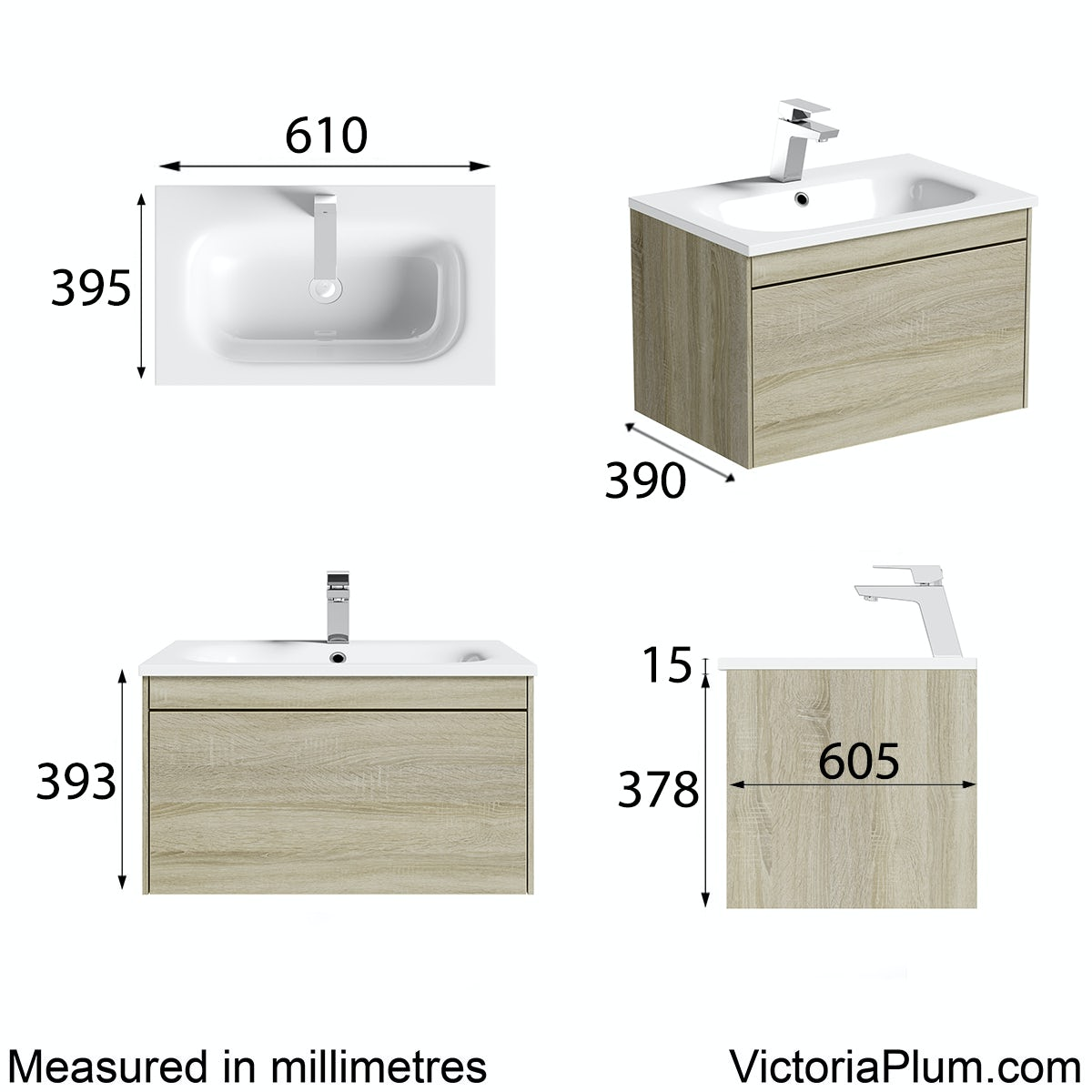 Dimensions for Mode Austin oak wall hung vanity unit and stone basin 600mm