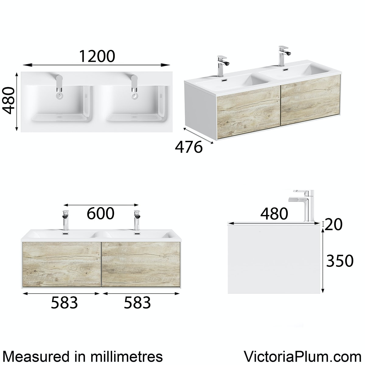 Dimensions for Mode Burton white & rustic oak wall hung double basin vanity unit 1200mm
