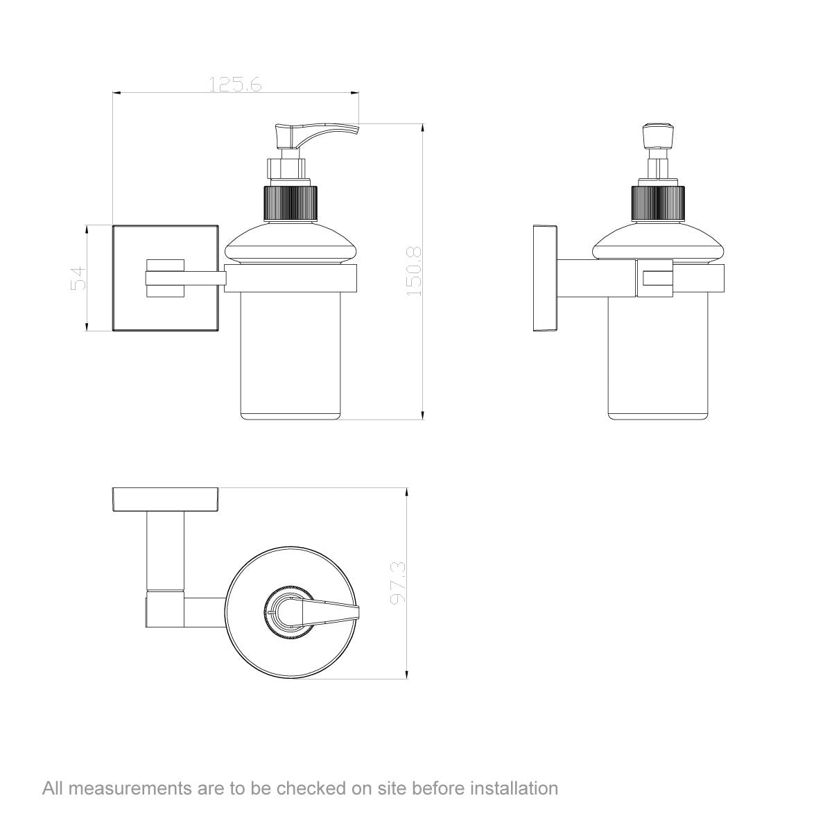Dimensions for Flex soap dispenser