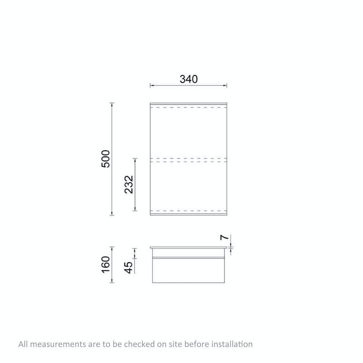 Dimensions for Orchard Twist stainless steel bathroom cabinet