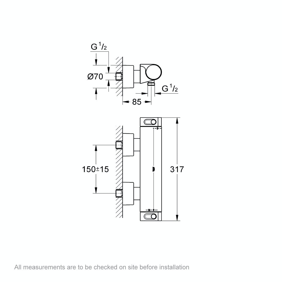 Dimensions for Grohe Grohtherm 2000 thermostatic shower valve