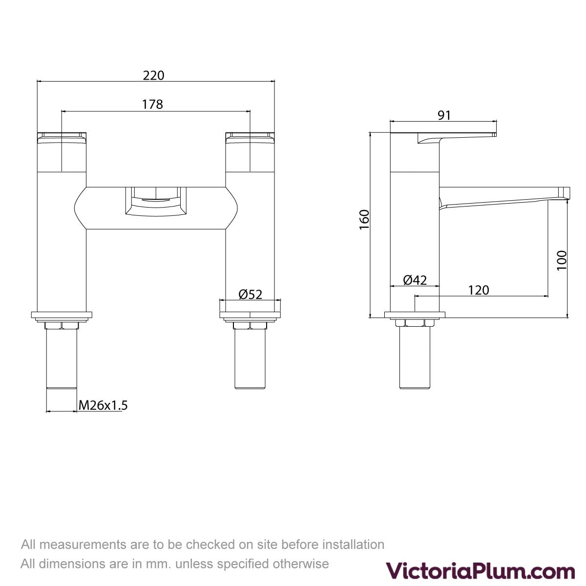 Dimensions for Kirke Combo bath mixer tap