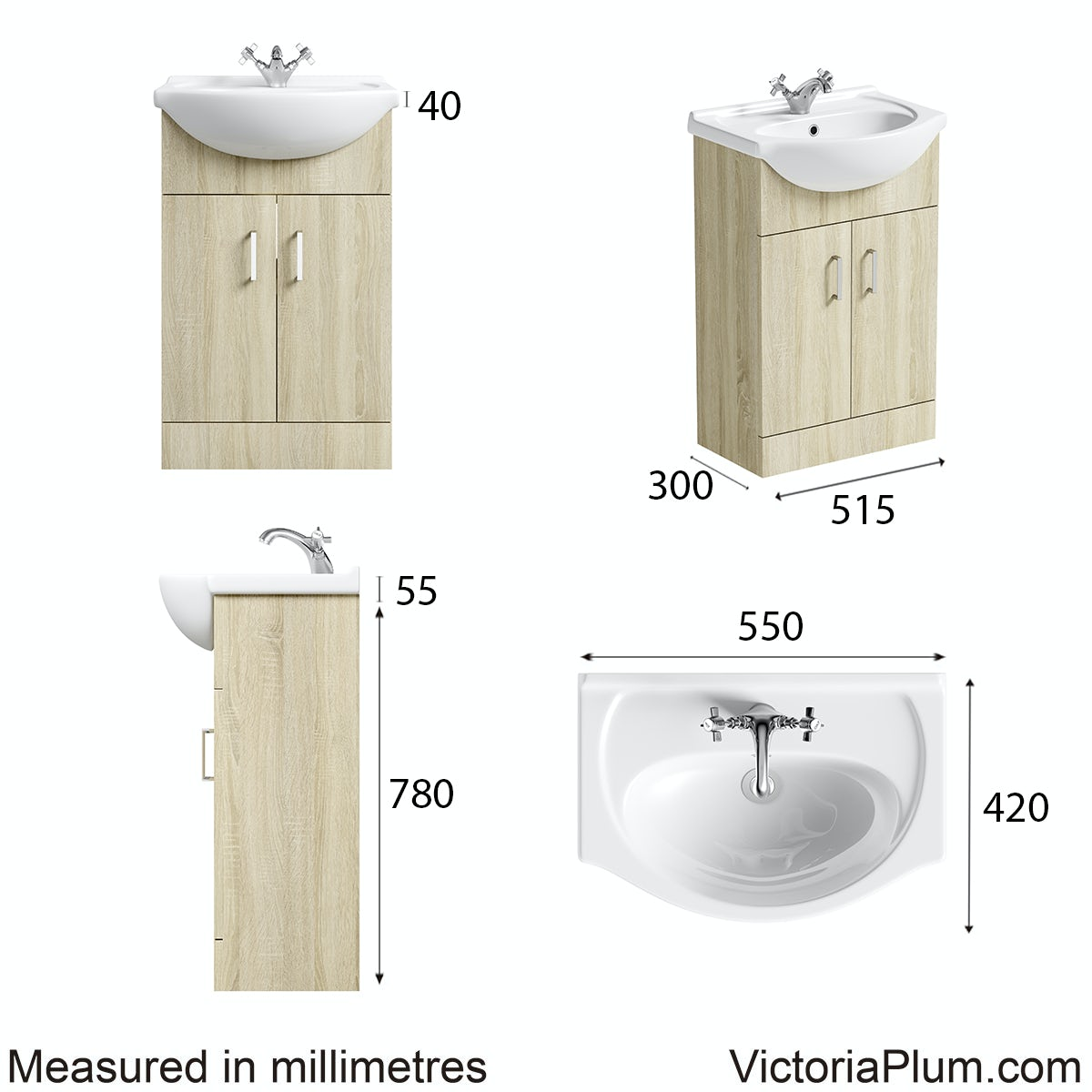 Dimensions for Orchard Eden oak vanity unit and basin 550mm