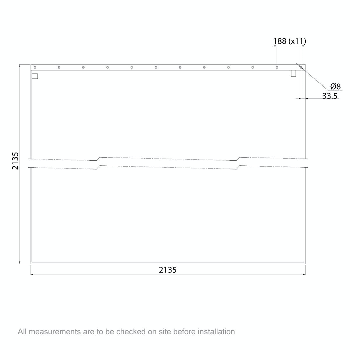 Dimensions for AKW Shower curtain 2135 x 2135