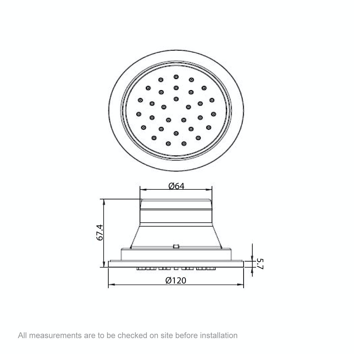 Dimensions for Mode Spa round shower body jet
