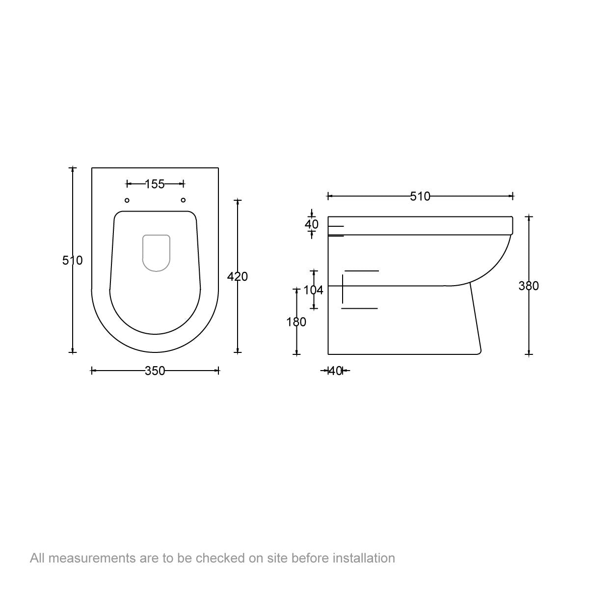 Dimensions for Eden back to wall toilet with luxury soft close seat