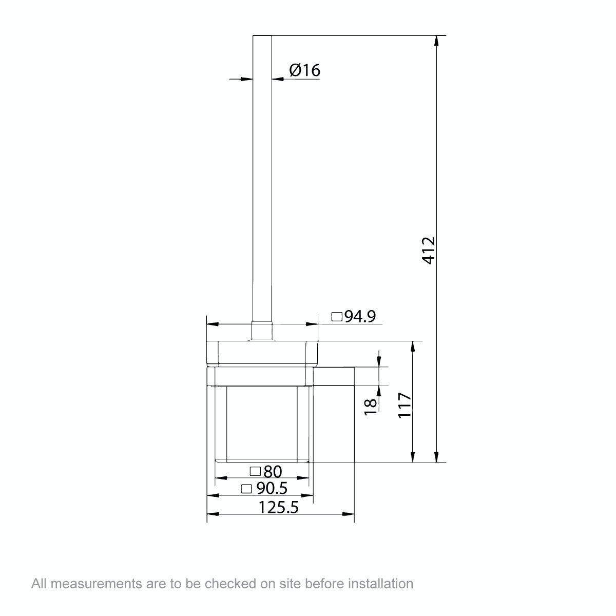 Dimensions for Mode Spencer brushed nickel toilet brush and holder