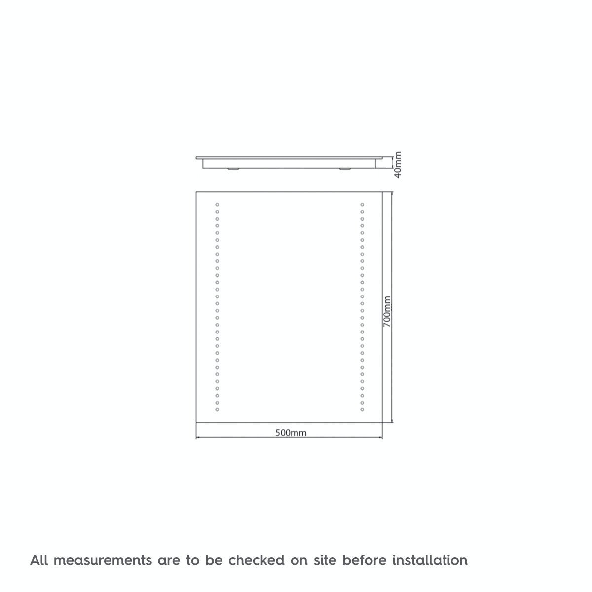Dimensions for Mode Rodia LED mirror
