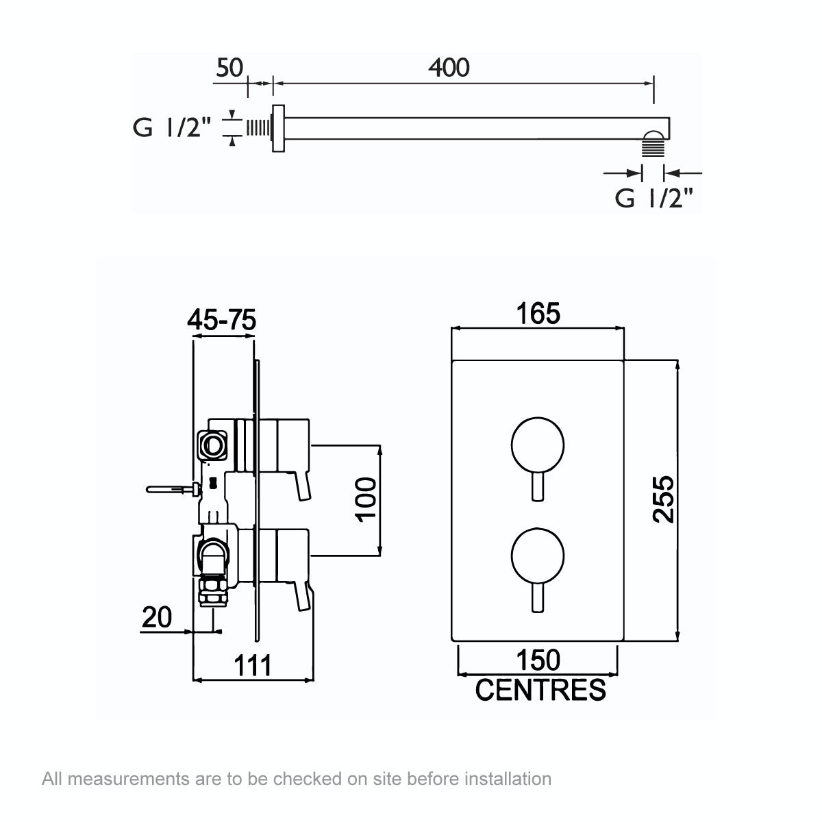 Dimensions for Bristan Prism concealed thermostatic shower bath set
