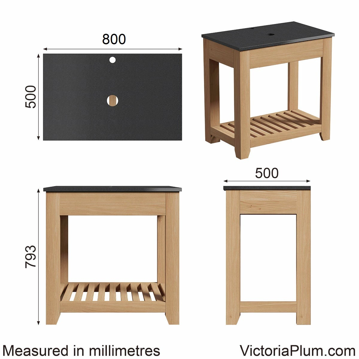 Dimensions for The Bath Co. Hoxton oak washstand with black marble top 800mm