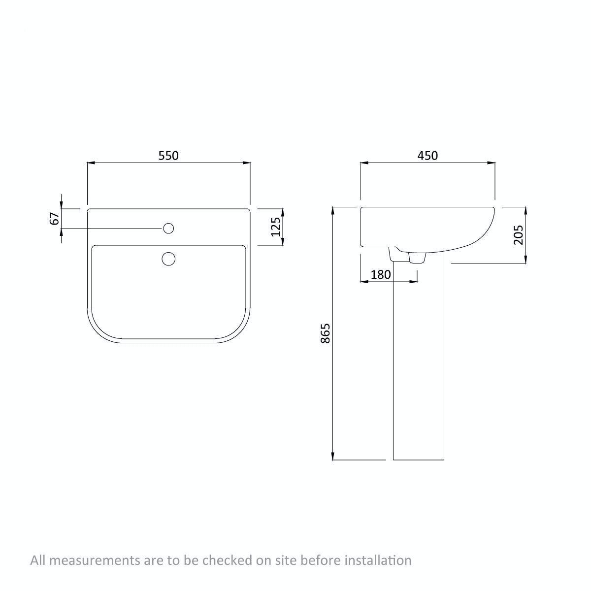 Dimensions for Orchard Derwent square 1 tap hole full pedestal basin 550mm