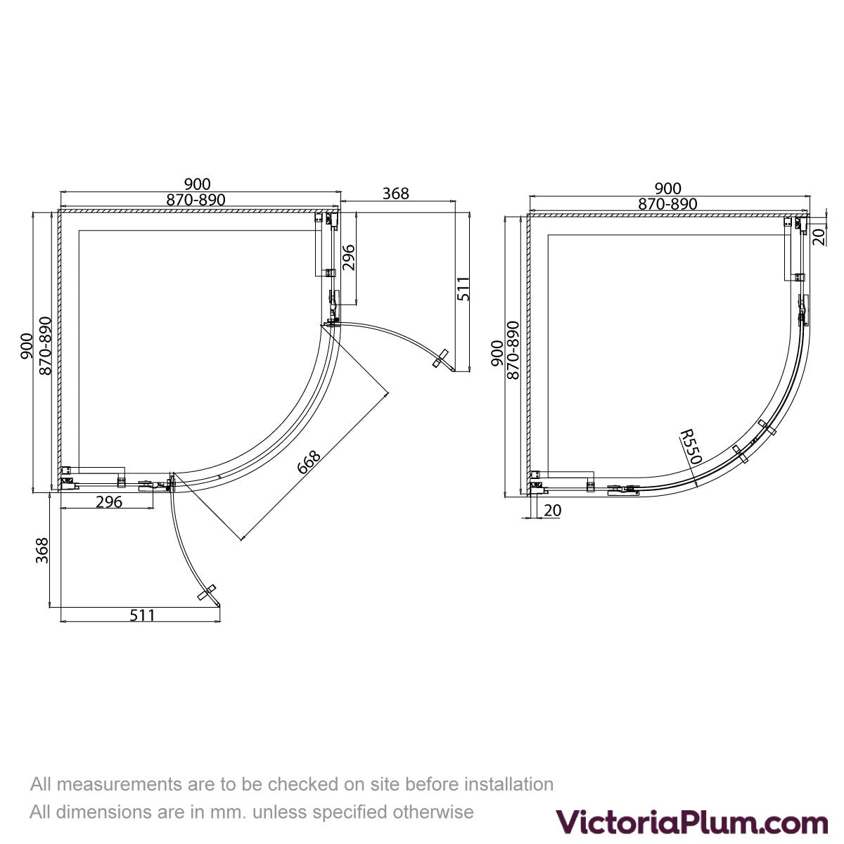 Dimensions for Mode Cooper black hinged quadrant shower enclosure 900x900