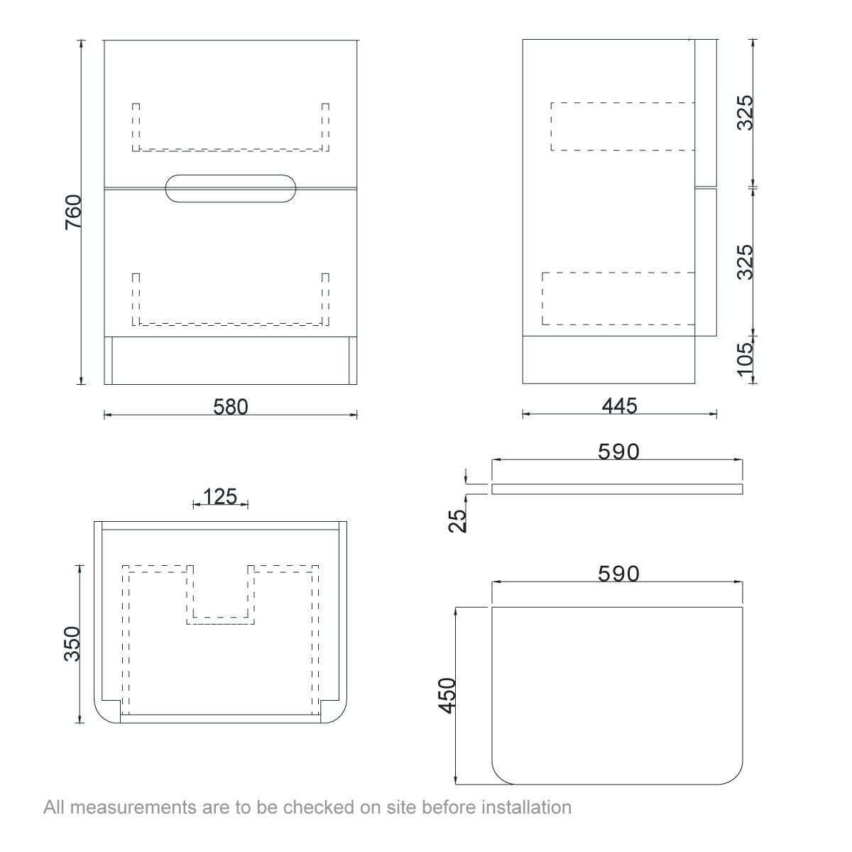 Dimensions for Mode Ellis white vanity drawer unit and countertop 600mm