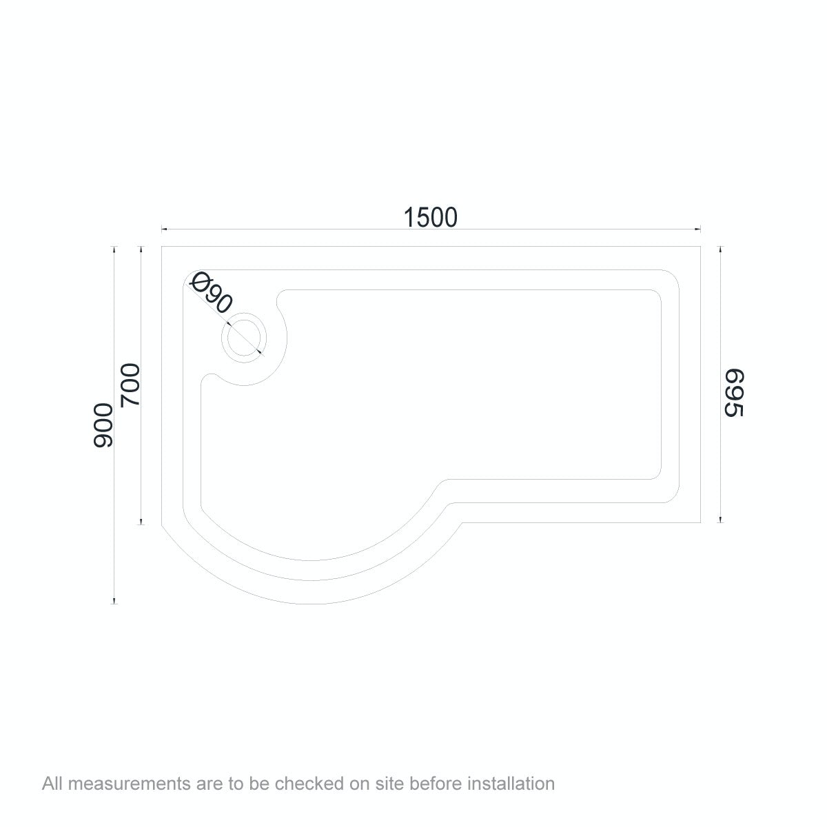 Dimensions for Orchard P shaped left handed shower tray 1500 x 900