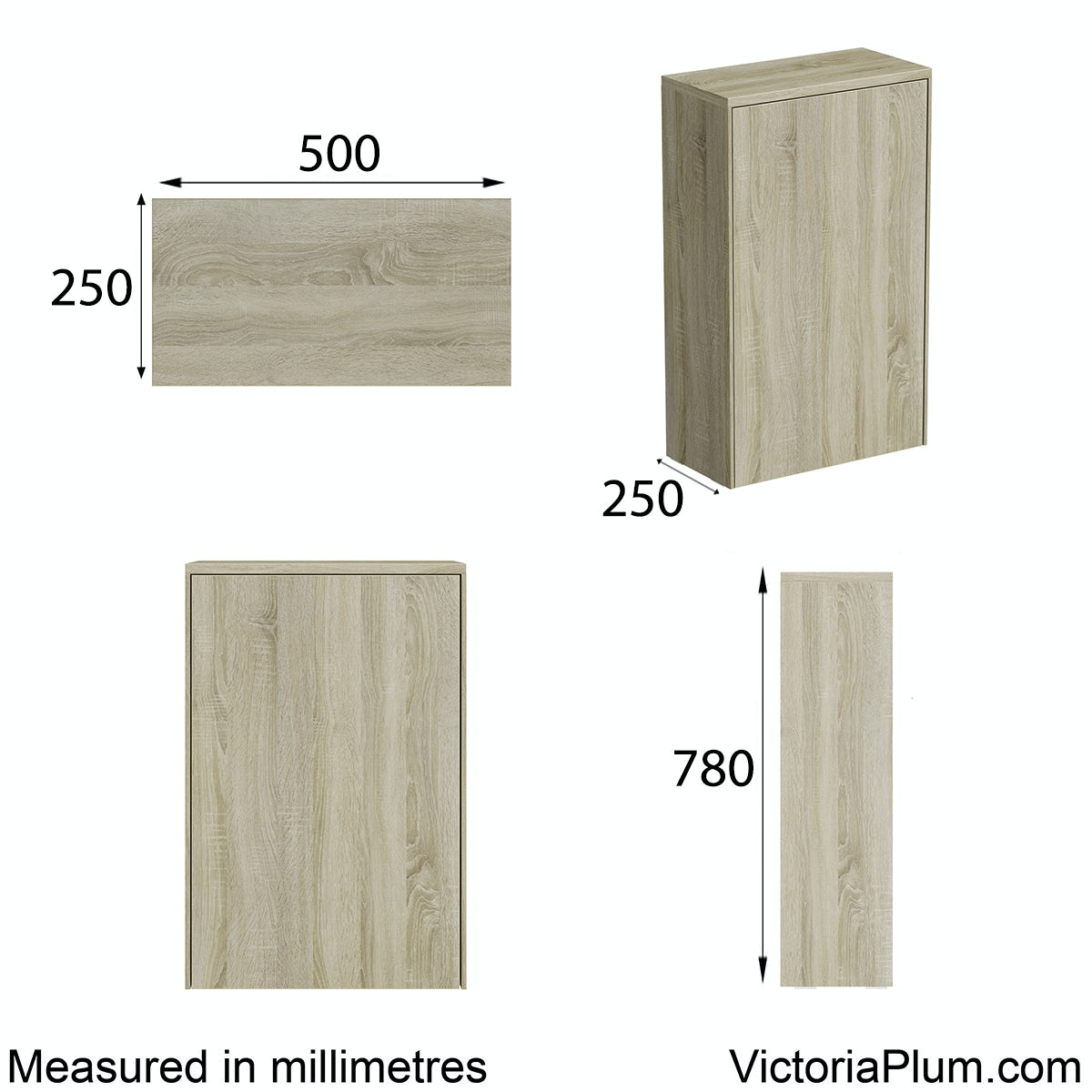 Dimensions for Mode Austin oak back to wall toilet unit