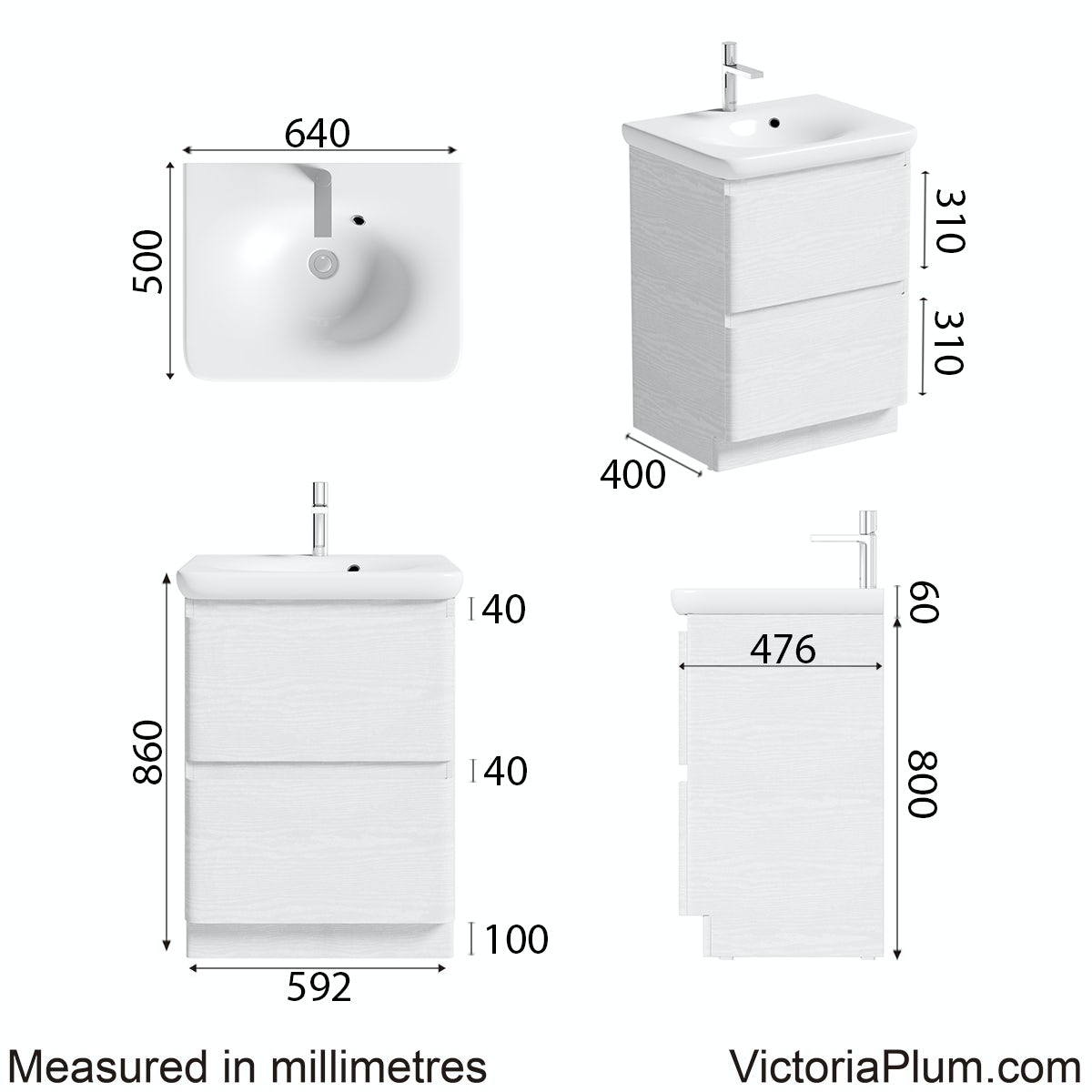 Dimensions for Mode Heath white floor standing unit and basin 600mm