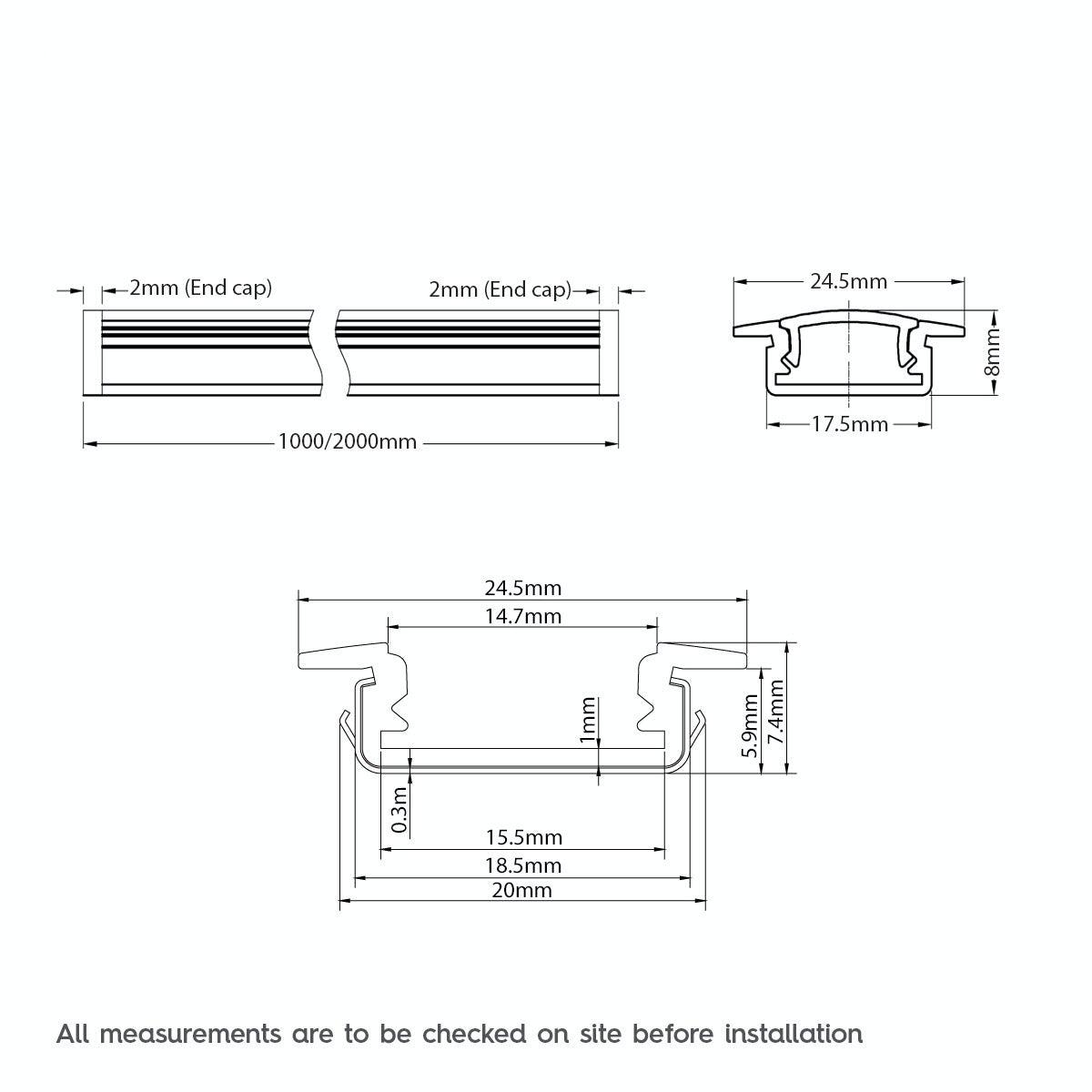 Dimensions for Mode Recessed aluminium profile 2m