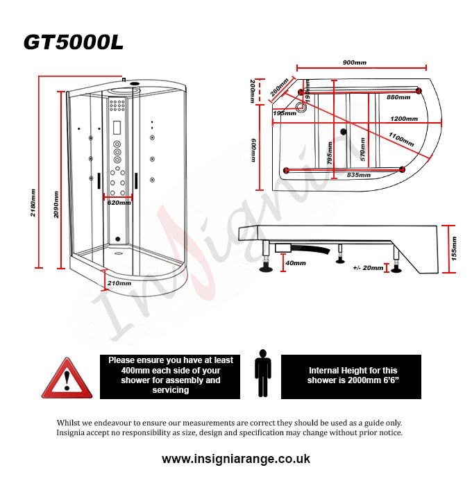 Dimensions for Insignia left handed offset quadrant steam shower cabin 1200 x 800