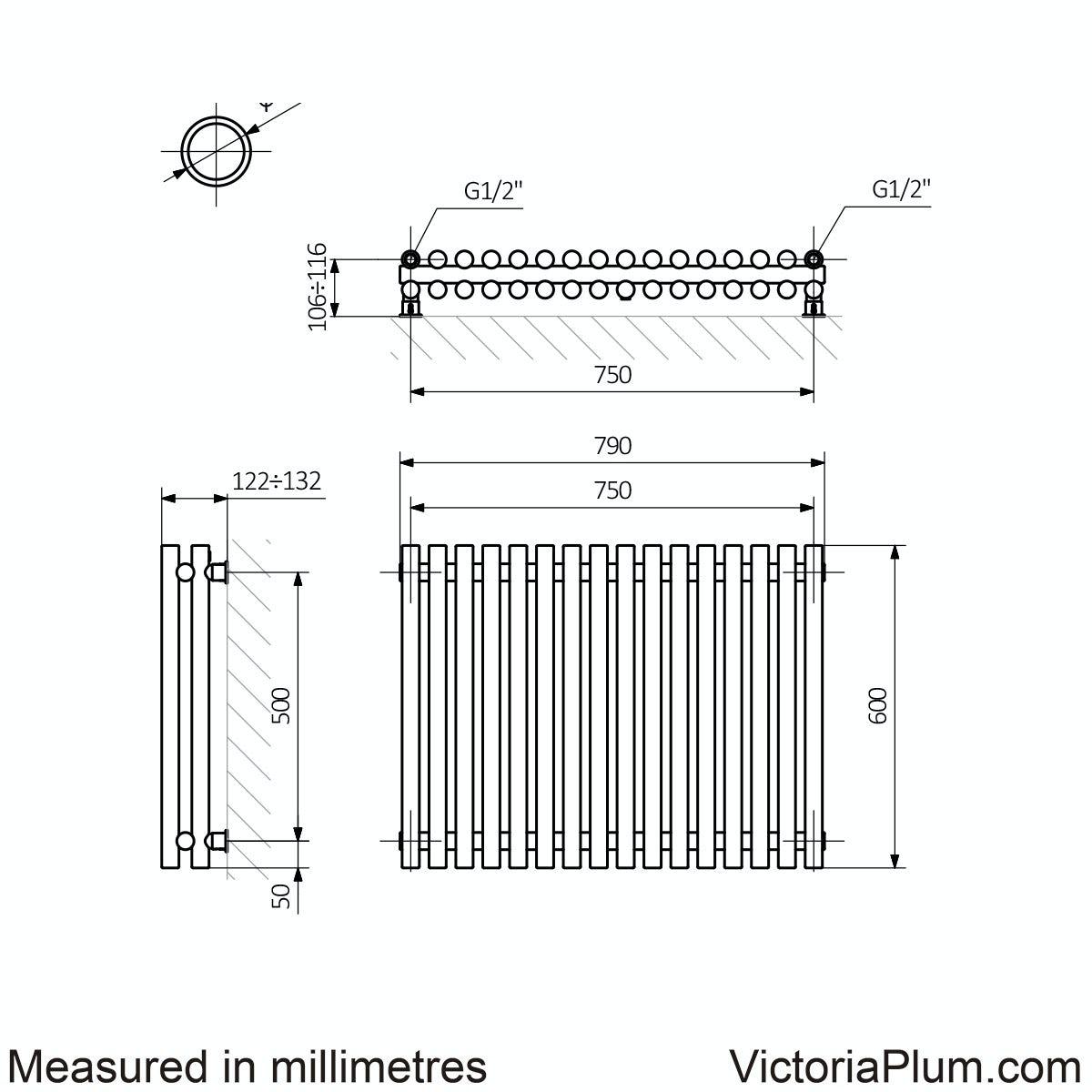 Dimensions for Terma Tune soft white double horizontal radiator 600 x 790