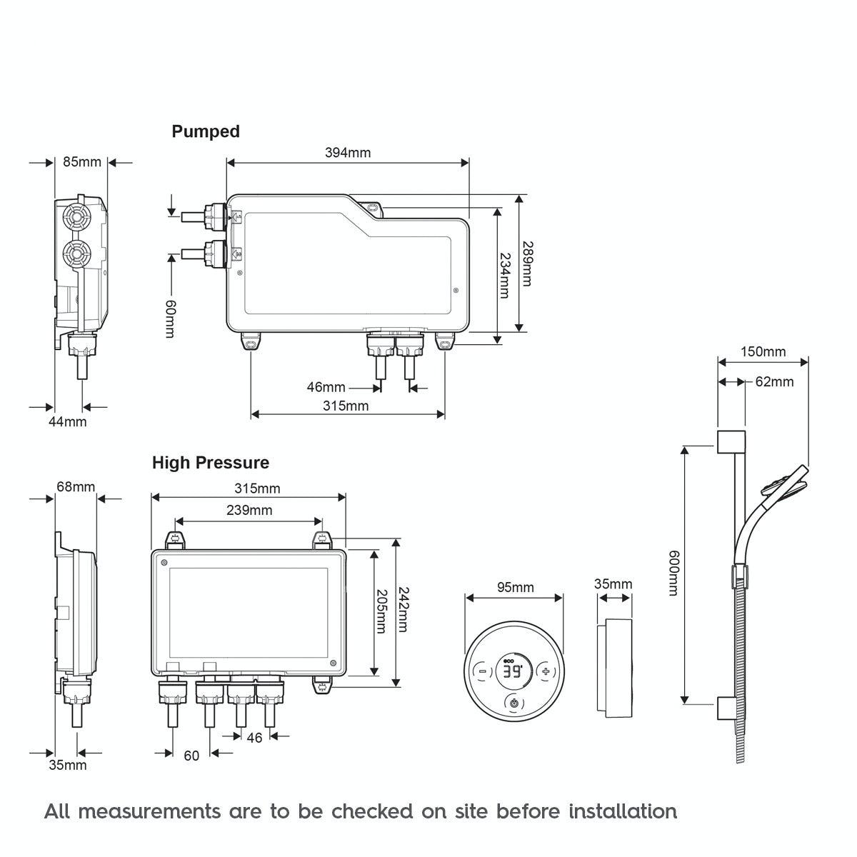 Dimensions for Mira Platinum rear fed digital shower pumped