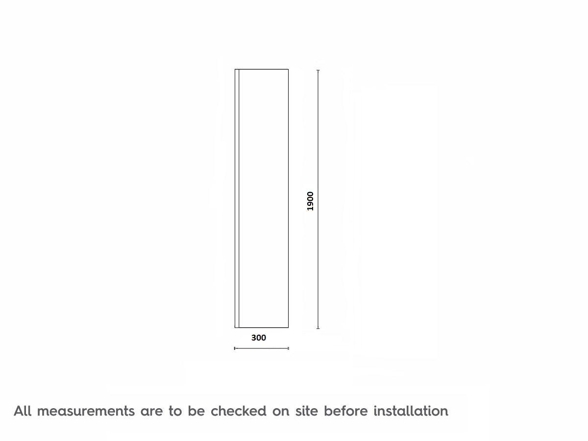 Dimensions for Mode 8mm wet room glass return panel 300mm