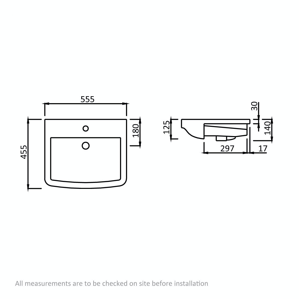 Dimensions for Mode Carter 1 tap hole basin semi recessed basin 550mm