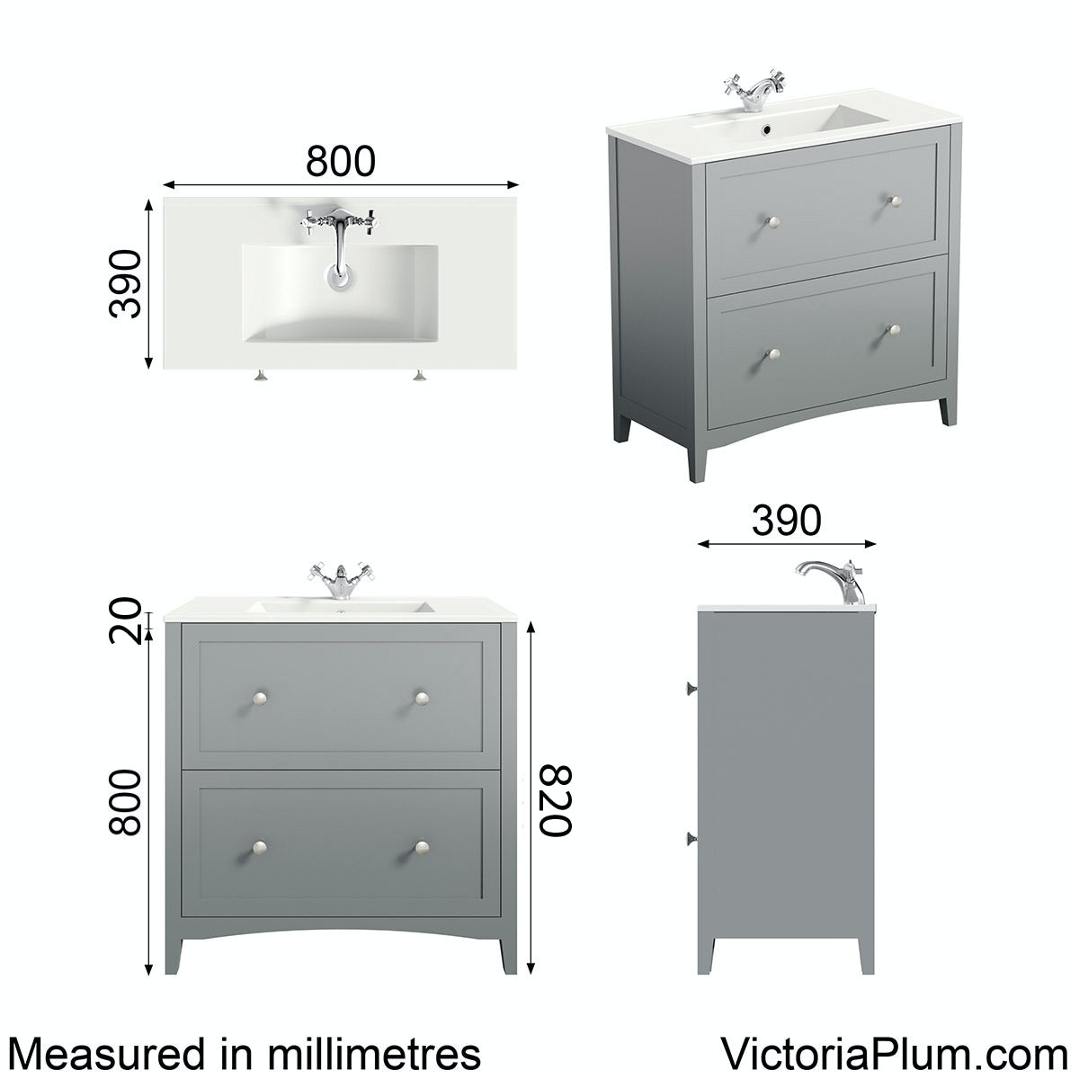 Dimensions for The Bath Co. Camberley satin grey vanity unit with basin 800mm