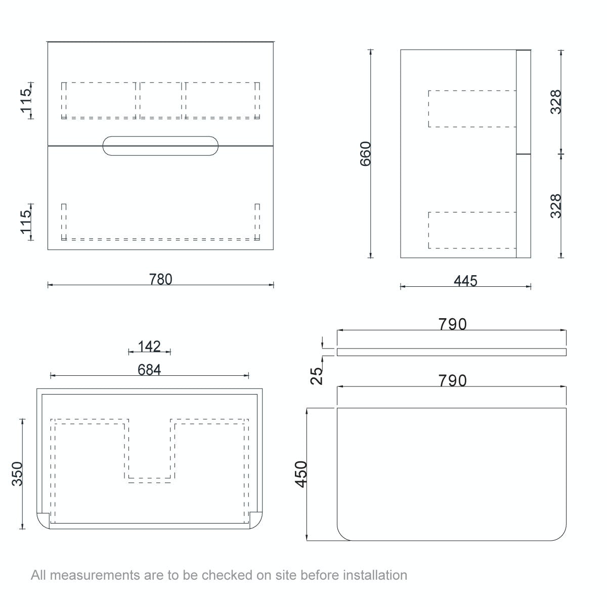 Dimensions for ModeEllis select slatewall hung vanity drawer unit and countertop 800mm