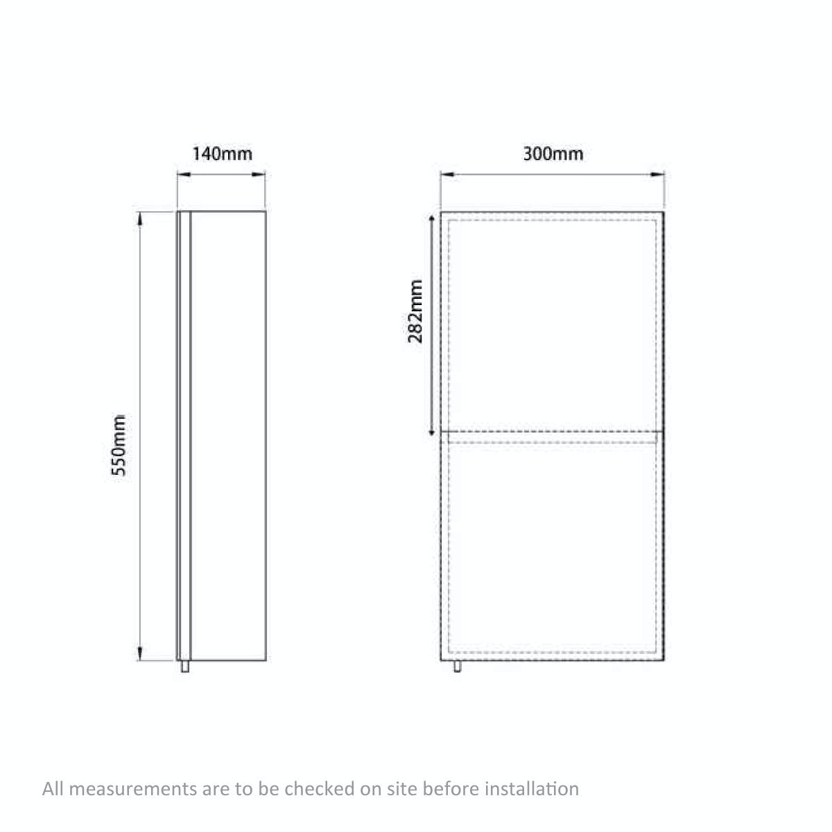 Dimensions for Orchard Reflex stainless steel bathroom cabinet 550 x 300