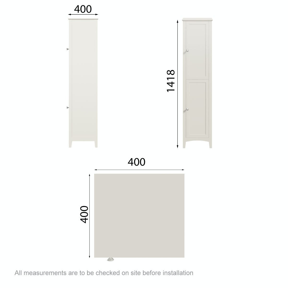 Dimensions for The Bath Co. Camberley satin ivory tall storage unit