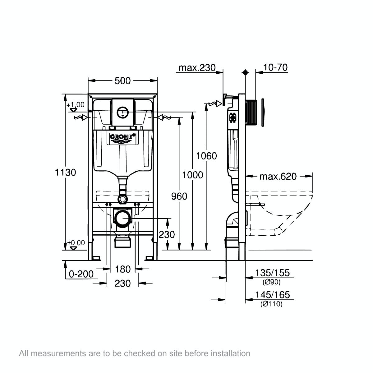 Dimensions for Grohe Rapid SL Set 3 in 1 wall mounting frame with round button Nova Cosmopolitan push plate 1.13m