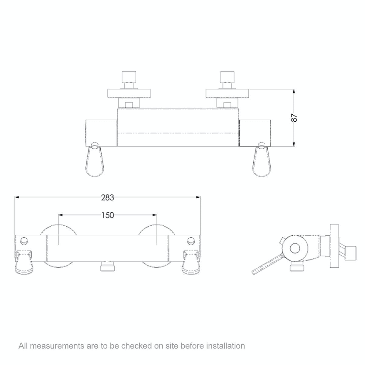 Dimensions for AKW Arka thermostatic mixer shower valve