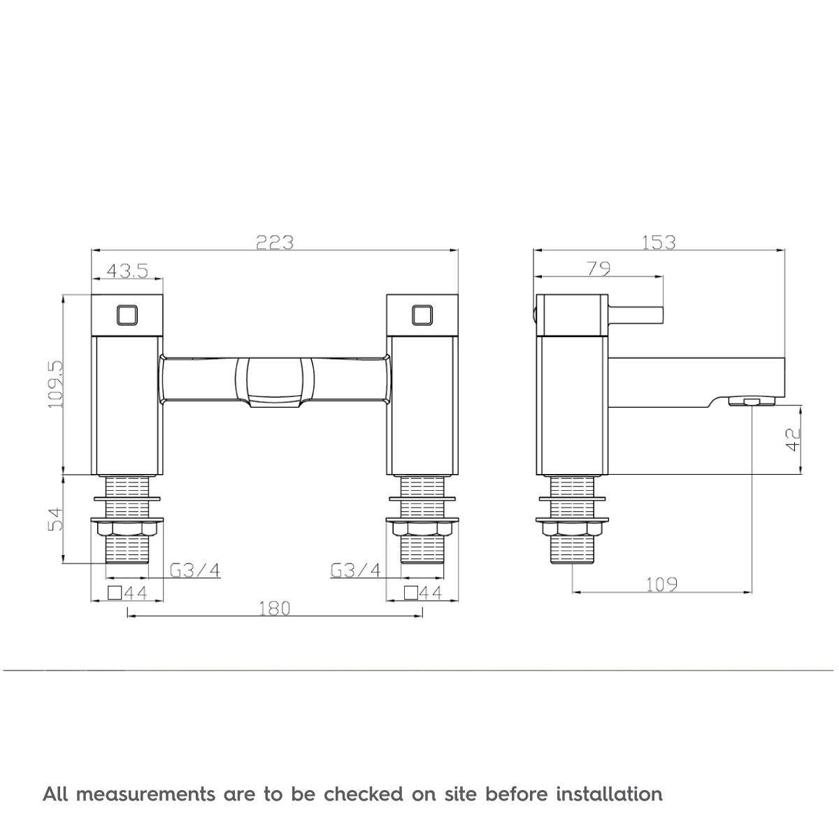Dimensions for Orchard Derwent bath mixer tap