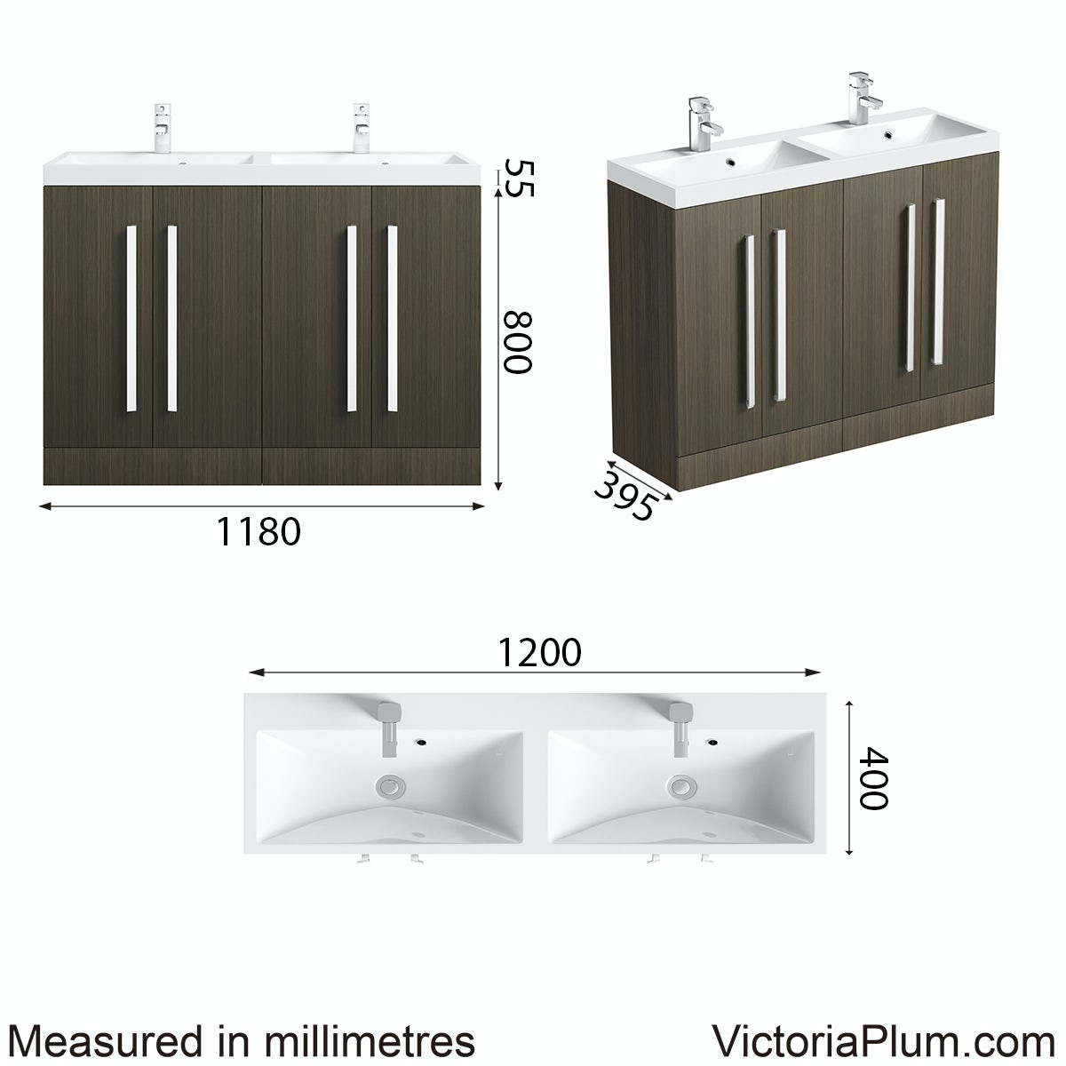 Dimensions for Orchard Wye walnut double basin unit 1200mm