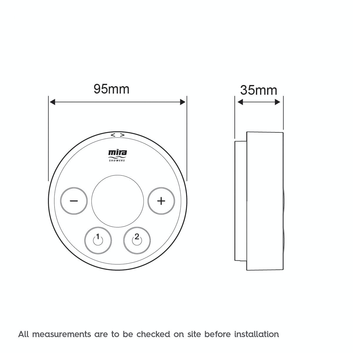 Dimensions for Mira Platinum dual wireless digital shower controller