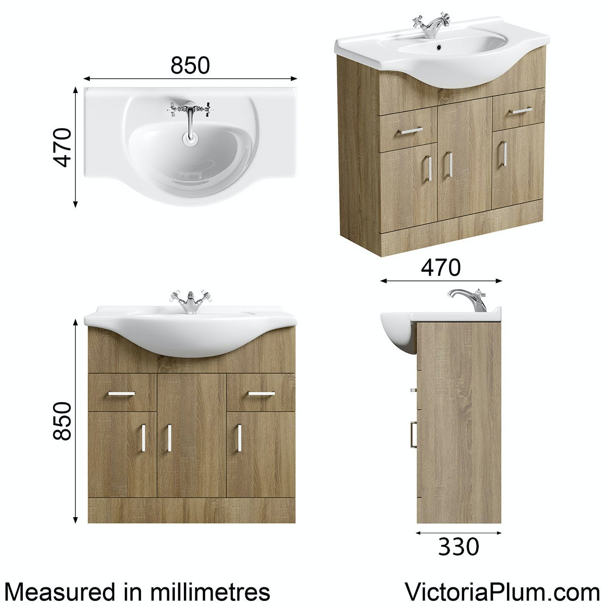 Dimensions for Sienna oak vanity unit and basin 850mm