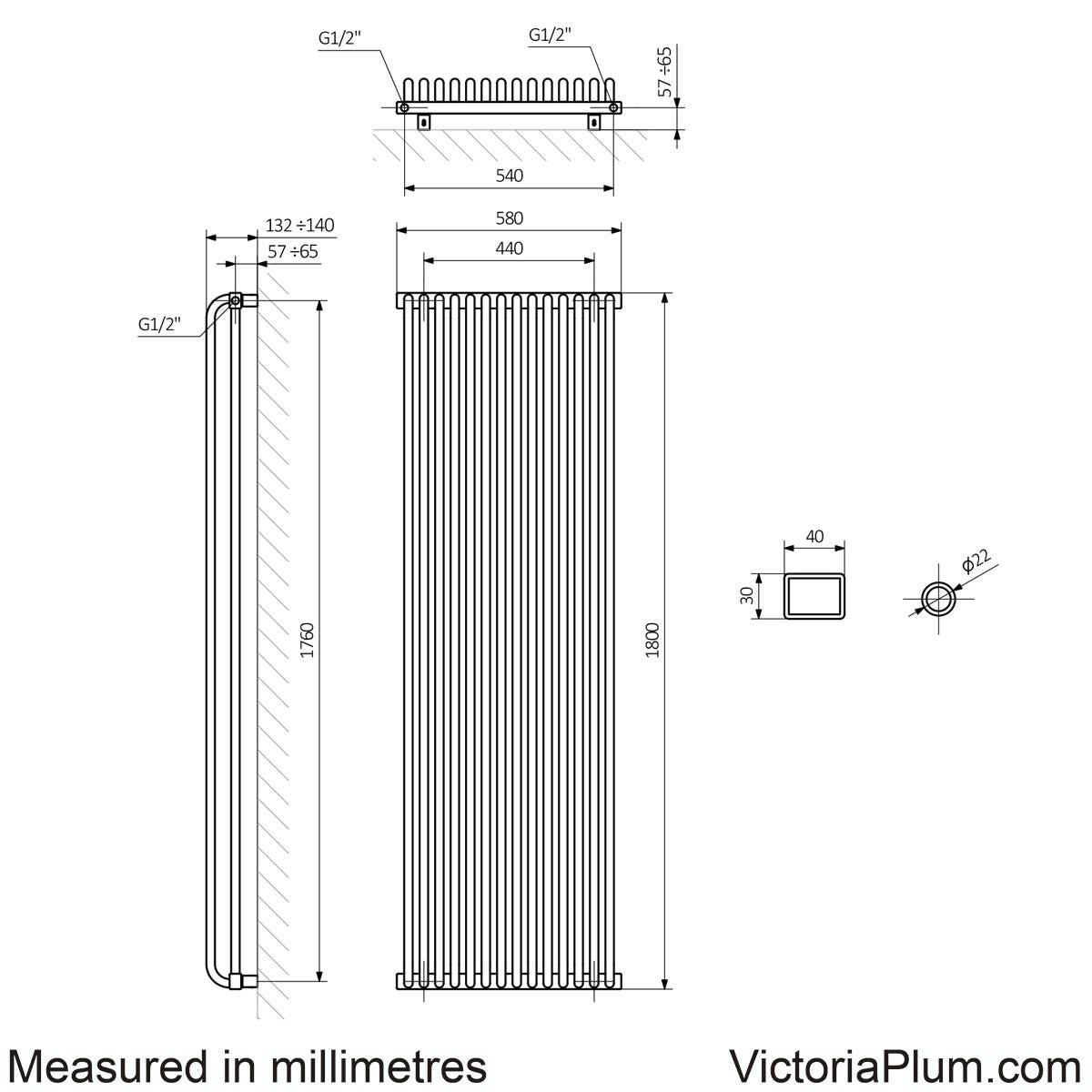 Dimensions for Terma Delfin soft white vertical radiator 1800 x 580