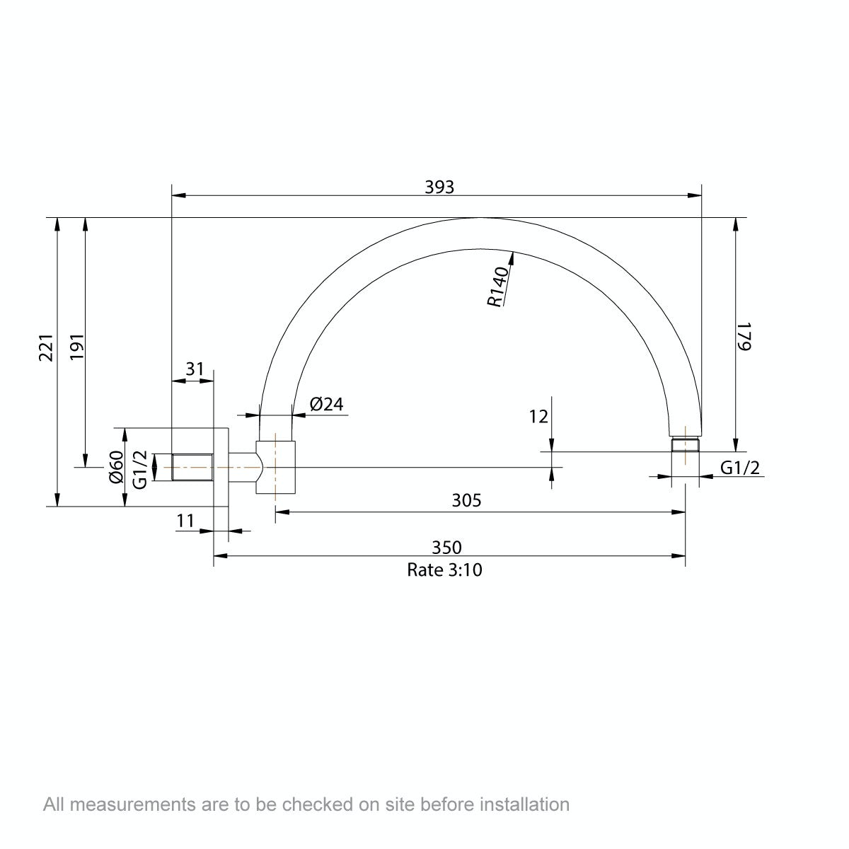 Dimensions for The Bath Co. Traditional wall shower arm