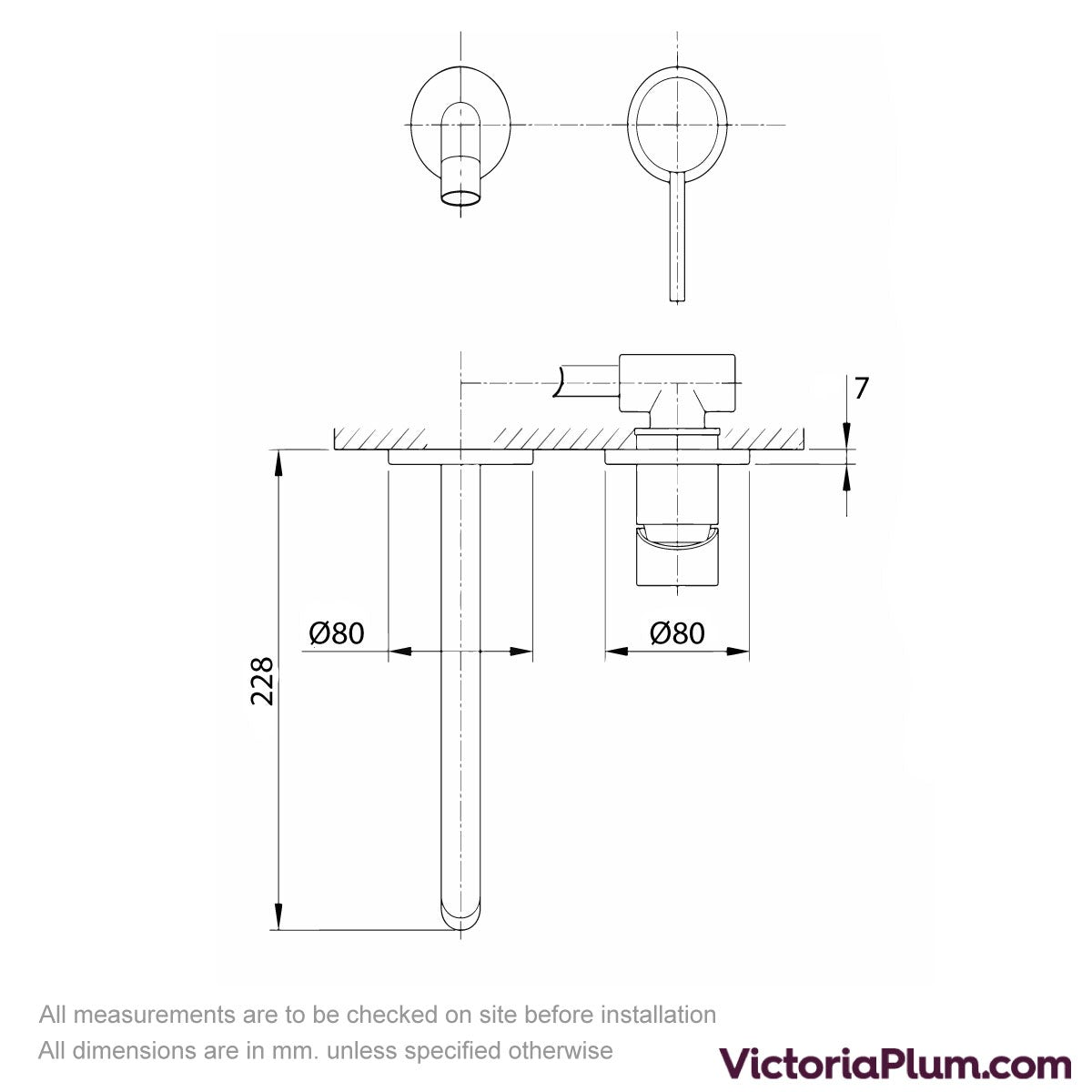 Dimensions for Mode Spencer round wall mounted brushed nickel bath mixer tap