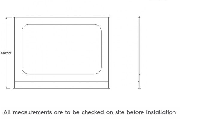 Dimensions for The Bath Co. Traditional acrylic bath end panel 700mm