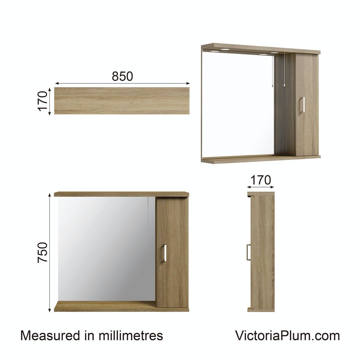 Dimensions for Sienna oak bathroom mirror with lights 850mm