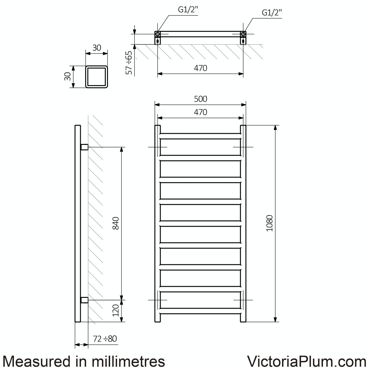 Dimensions for Terma Simple pigeon blue heated towel rail 1080 x 500
