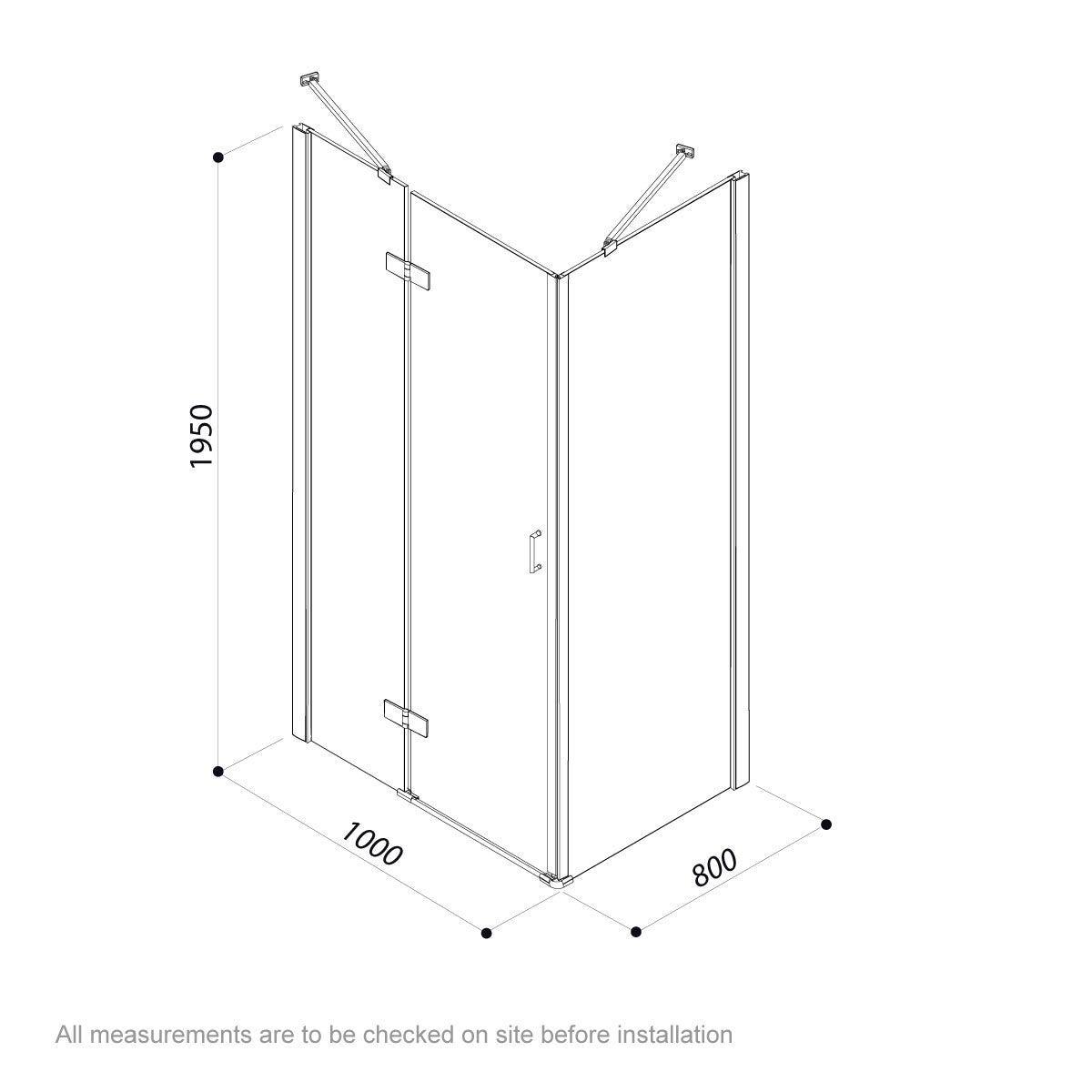 Dimensions for Jacuzzi Essentials hinged door shower enclosure 1000 x 800