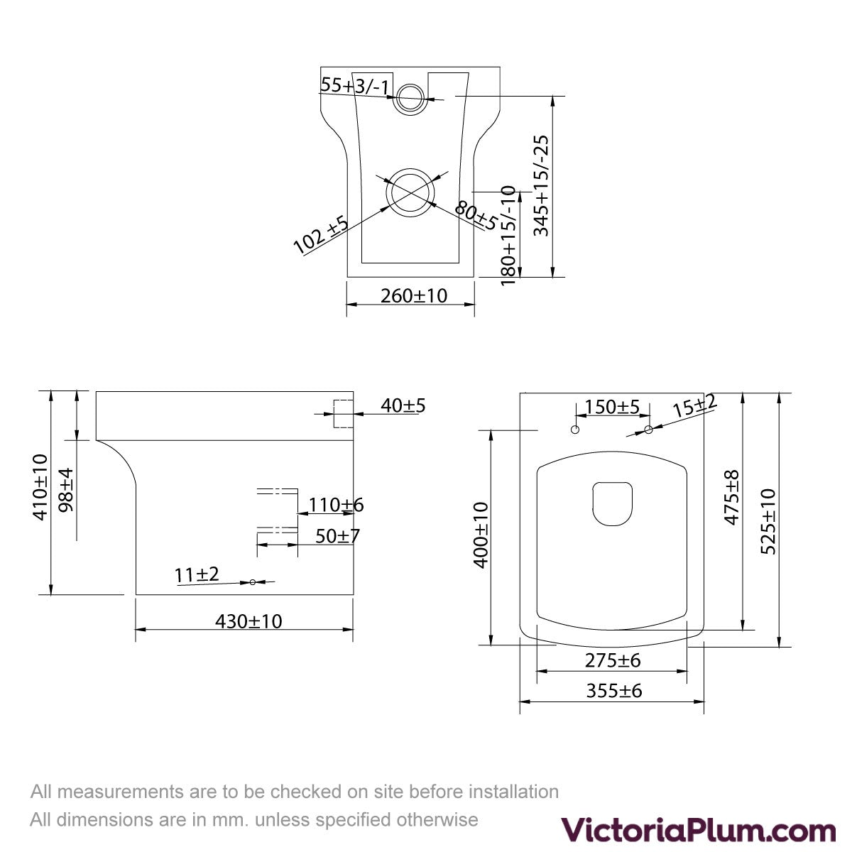 Dimensions for Orchard Wye back to wall toilet with soft close toilet seat