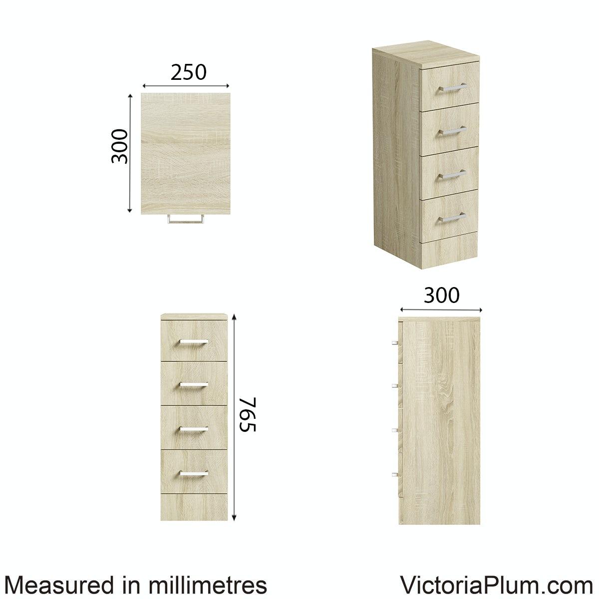 Dimensions for Orchard Eden oak multi drawer unit 300mm